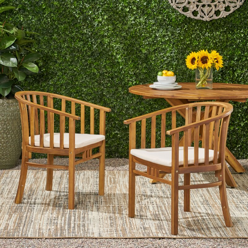 Thacker Outdoor Teak Patio Dining Chair with Cushion