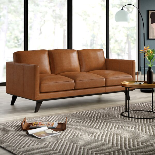 Our Offers Northwick Leather Sofa by Mercury Row by Mercury Row