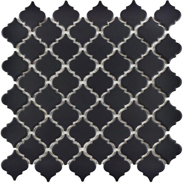 Pharsalia 12.38 x 12.5 Porcelain Mosaic Floor and Wall Tile in Matte Black by EliteTile