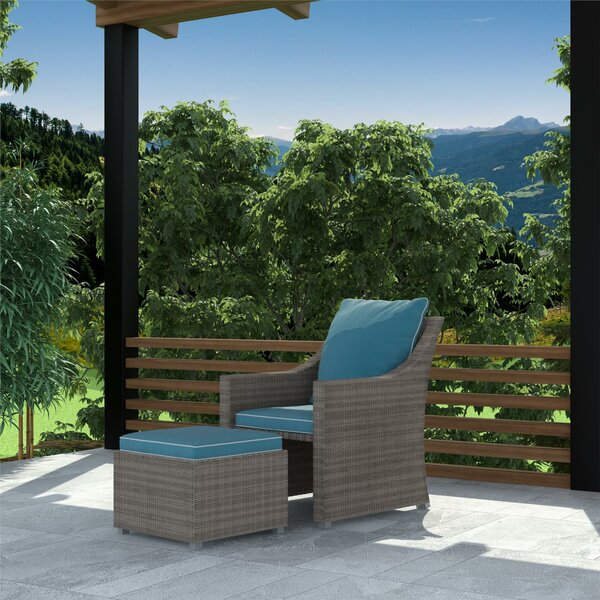 Coyne Patio Chair With Cushions And Ottoman By Highland Dunes