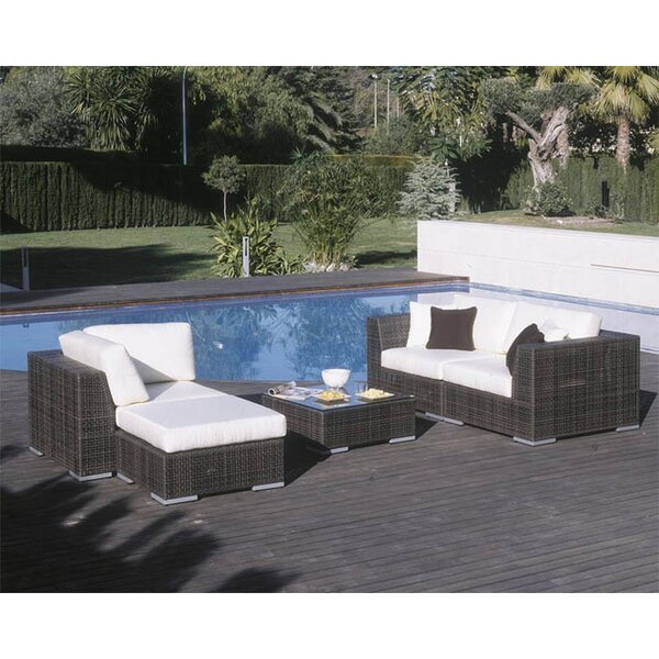 Soho 5 Piece Sectional Seating Group with Sunbrella Cushions by Hospitality Rattan