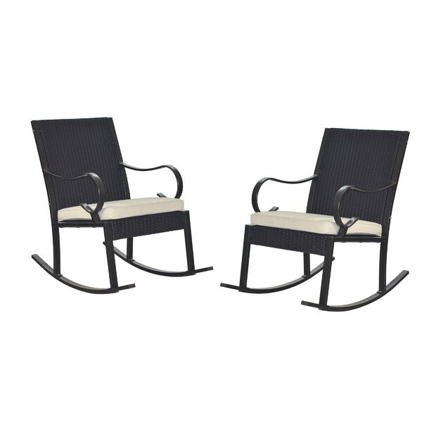 Kampmann Outdoor Wicker Rocking Chair with Cushions (Set of 2) by August Grove