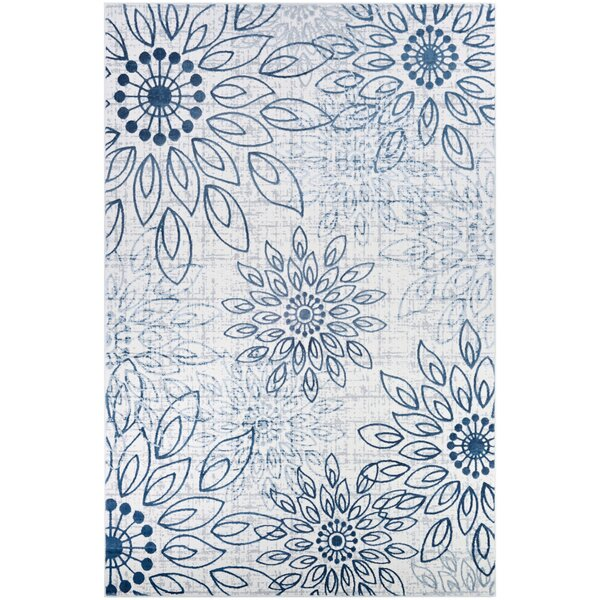 Jakes Steel Blue/Ivory Area Rug by Ophelia & Co.