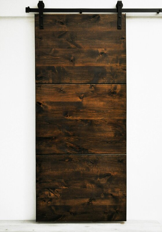 Modern Slab Wood 1 Panel Interior Barn Door