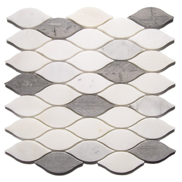 Pucho Leaf 2 x 4 Marble Mosaic Tile in Gray/White by Byzantin Mosaic