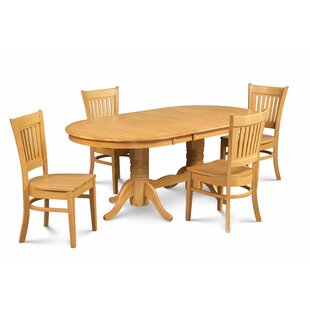 Miriam Solid Wood 5 Piece Extendable Solid Wood Dining Set By Breakwater Bay