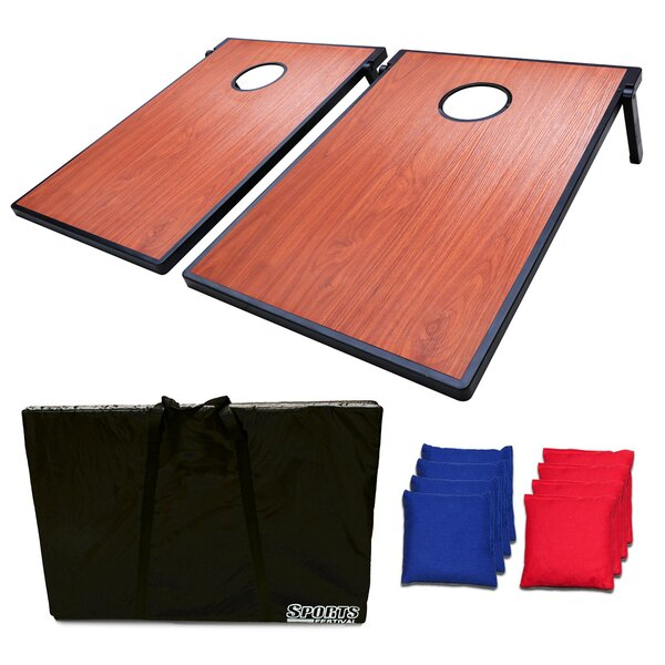 Vertical Wooden Texture Bean Bag Toss Game and Tic Tac Toe Cornhole by Festival Depot