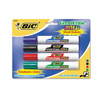 Great Erase Bold Dry Erase Chisel Tip Markers (4/Pack) by Bic Corporation