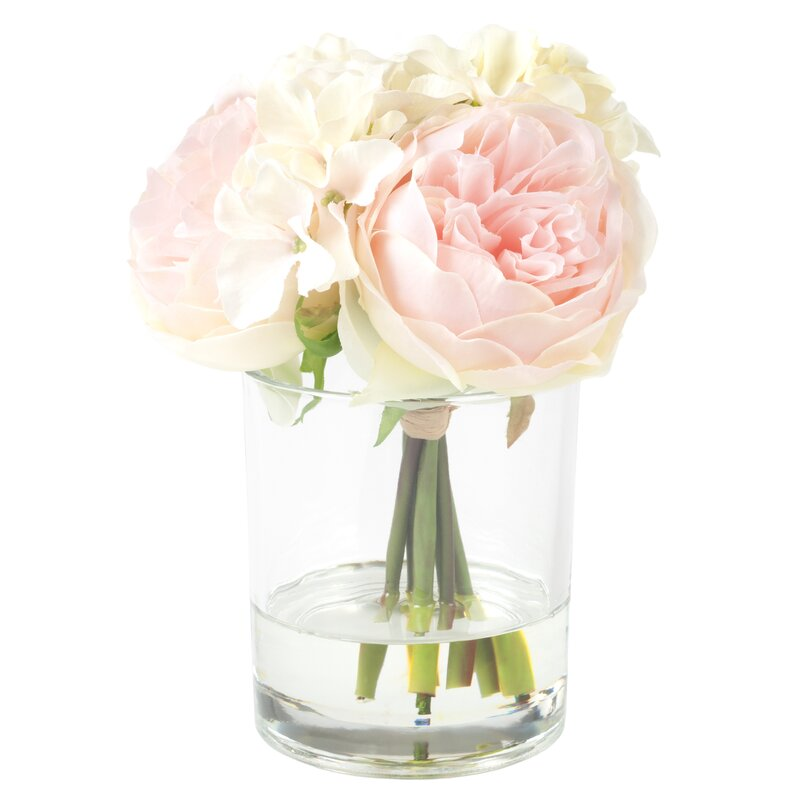 Hydrangea and Rose Arrangement in Glass Vase