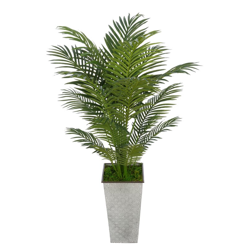 Bay Isle Home Artificial Floor Areca Palm Tree In Decorative Vase