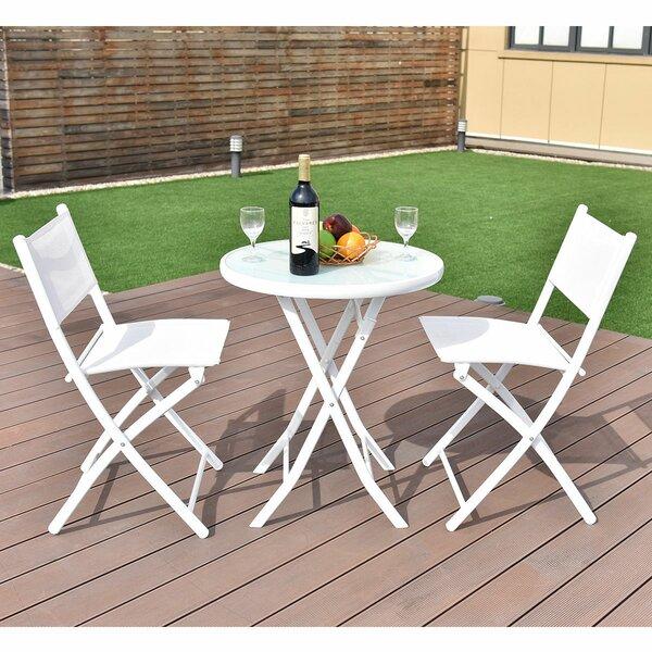 Naczi Folding Garden Backyard 3 Piece Bistro Set