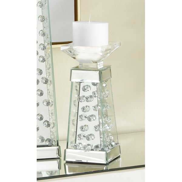 Crystal Wood Candlestick by House of Hampton