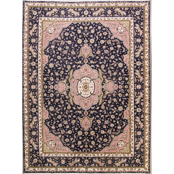 Knutsen Soft Plush Floral Traditional Tabriz Persian Blue/Cream Area Rug by Isabelline