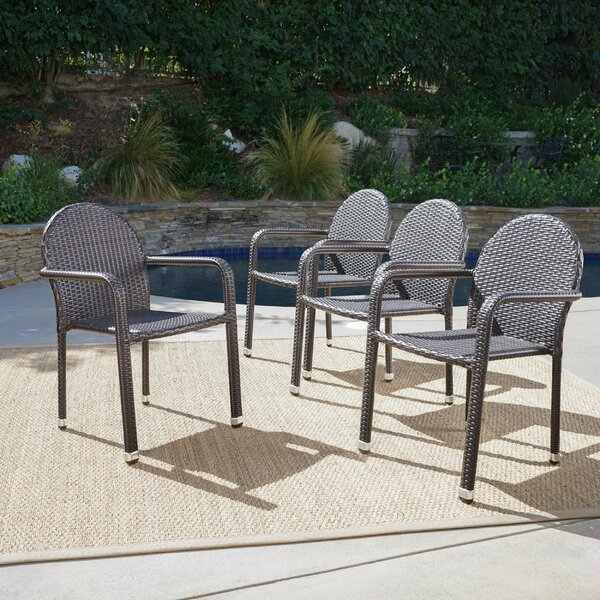 Wiesner Stacking Patio Dining Chair (Set of 4) by Wrought Studio