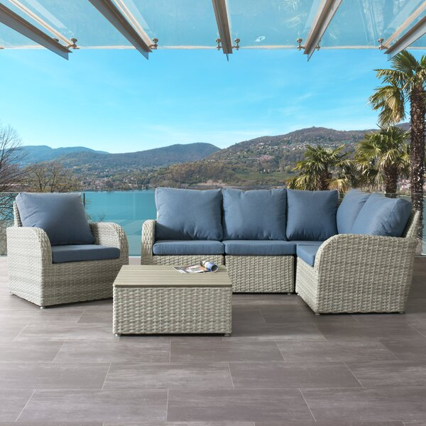 Costanzo 6 Piece Rattan Sectional Seating Group with Cushions by Rosecliff Heights