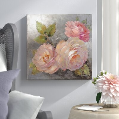"""'Roses on Gray II' Painting Print on Wrapped Canvas Lark Manor Size: 12"""" H x 12"""" W x 0.75"""" D"""