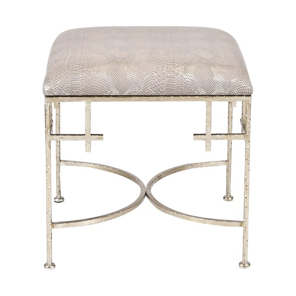 Hammered Vanity Stool by Worlds Away
