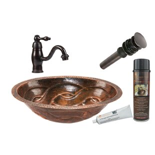 Compare Braided Metal Oval Undermount Bathroom Sink with Faucet ByPremier Copper Products