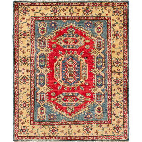 One-of-a-Kind Alarice Hand-Knotted Wool Blue/Red Area Rug by Isabelline