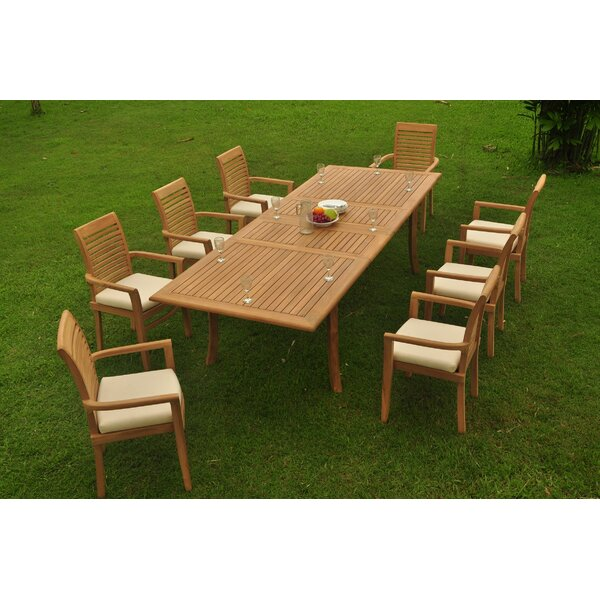 Howa 9 Piece Teak Dining Set By Rosecliff Heights