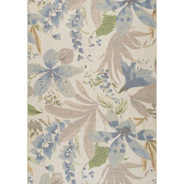 Guidry Flowers Cream/Blue Indoor/Outdoor Area Rug by Bayou Breeze