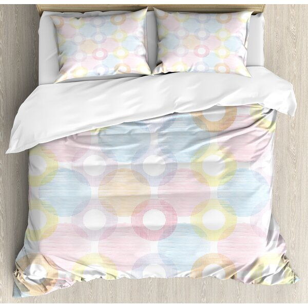 Ring Shapes and Big Spots Dots Symmetrical Overlapping Figures Geometric Feminine Duvet Set by East Urban Home