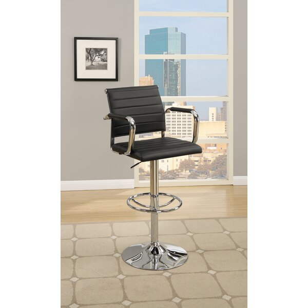 Lupo Gas Lift Faux Leather Adjustable Height Bar Stool (Set of 2) by Latitude Run