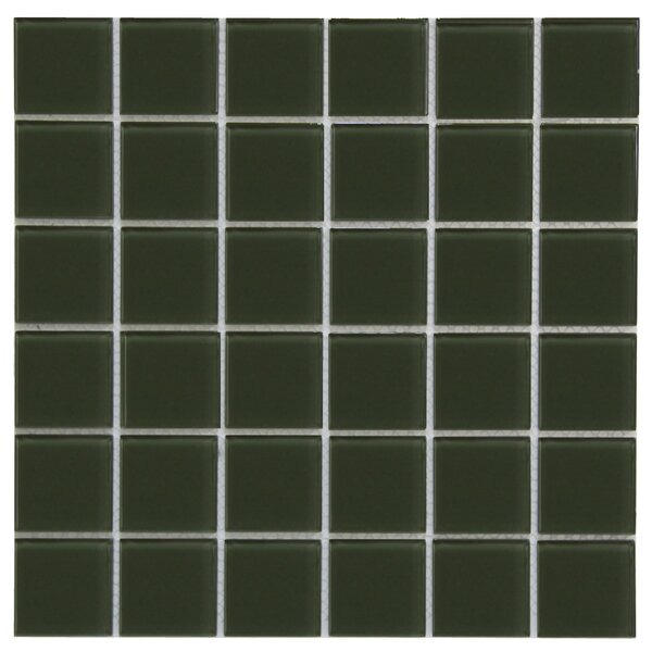 Crystal 2 x 2 Glass Mosaic Tile in Dark Oliva by Crystalcor USA