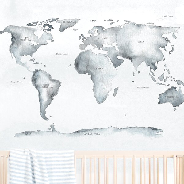 Valentina World Map Mural Wall Decal by Harriet Bee