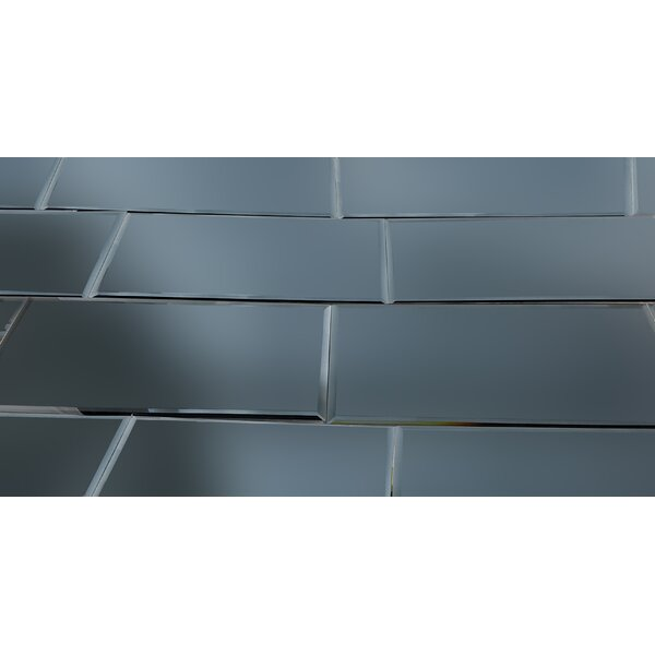 Echo 8 x 16 Mirror Glass Field Tile in Graphite Matte by Abolos