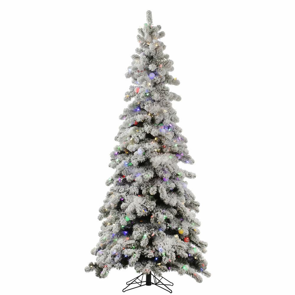 Vickerman Flocked Kodiak 7\' White Spruce Artificial Christmas Tree ...