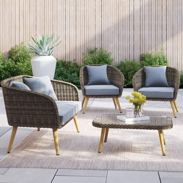 Jose 4 Piece Rattan Sofa Seating Group with Cushions by Foundstone