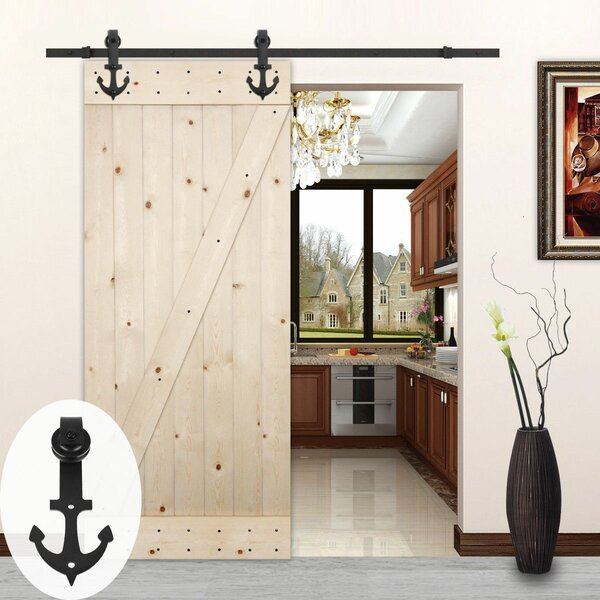 Anchor Style Sliding Wood Track Kit Barn Door Hardware by Lubann