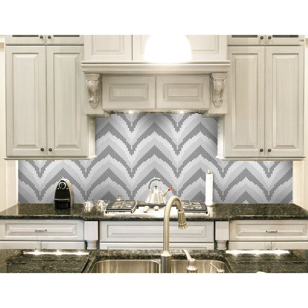 Urban Essentials Stylized Chevron 3/4 x 3/4 Glass Glossy Mosaic in Calm Grey by Mosaic Loft