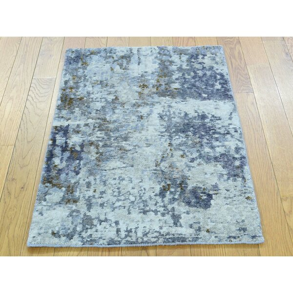 One-of-a-Kind Brimmer Abstract Design Handwoven Wool/Silk Area Rug by Isabelline