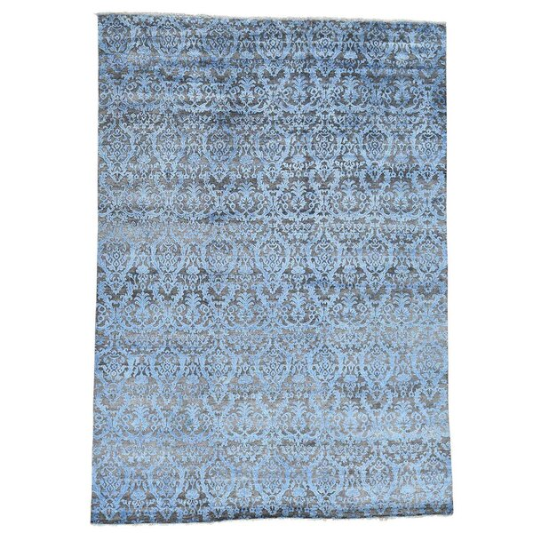 One-of-a-Kind Damask Hi and Lo Hand-Knotted Chocolate Brown/Denim Blue Area Rug by Bungalow Rose