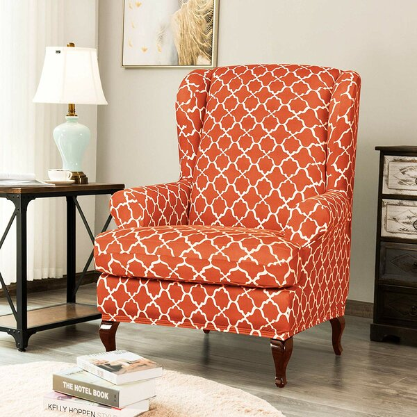 Check Price Cloud Print Spandex Box Cushion Wingback Slipcover