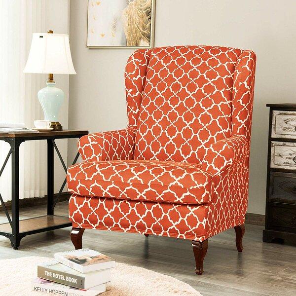 Deals Cloud Print Spandex Box Cushion Wingback Slipcover