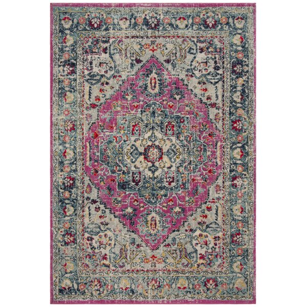 Grieve Fuchsia/Aqua Area Rug by Bungalow Rose