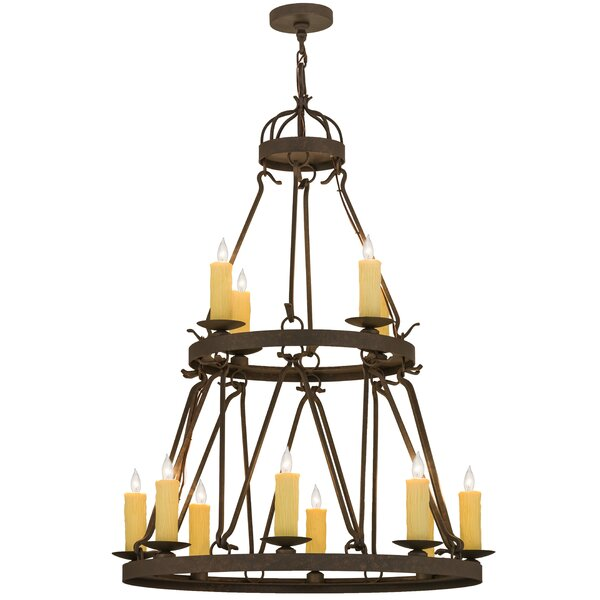 Dicarlo 12 - Light Unique Tiered Chandelier By Loon Peak