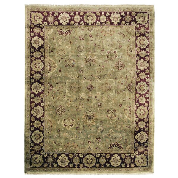 Polonaise Hand Knotted Wool Green/Maroon Area Rug by Exquisite Rugs
