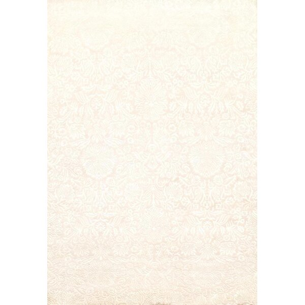 Indo Damask Tabriz Hand Knotted Wool Ivory Area Rug by Pasargad NY