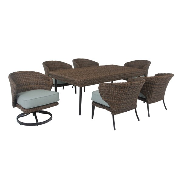 Tacoma 7 Piece Dining Set with Sunbrella Cushions by Longshore Tides