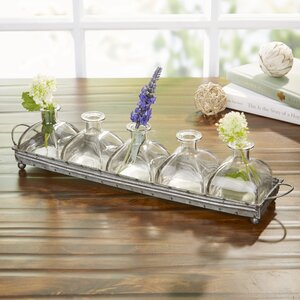 Rustic Glass Vases and Iron Tray