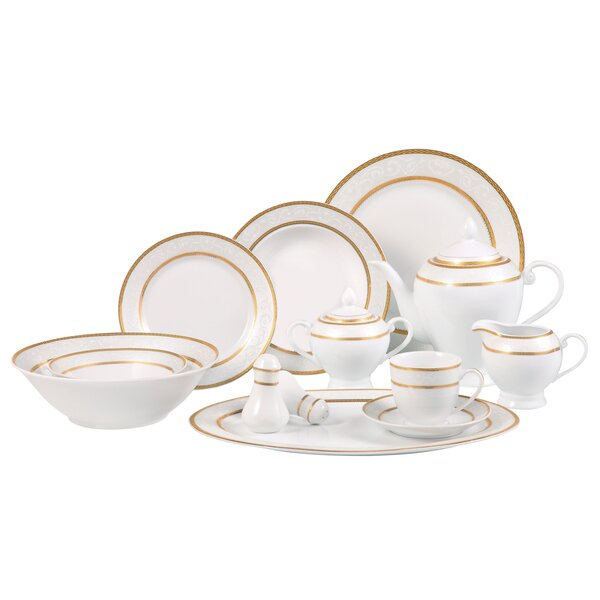 Amelia 57 Piece Dinnerware Set, Service for 8 by Lorren Home Trends
