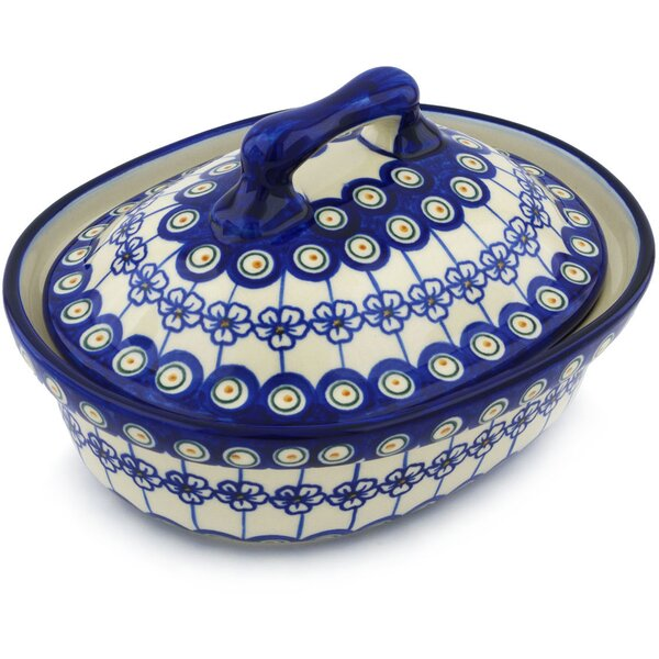Flowering Peacock Round Non-Stick Polish Pottery Baker with Cover by Polmedia