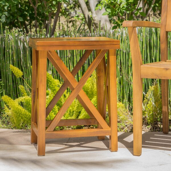 Marrufo Outdoor Acacia Wooden Side Table by Gracie Oaks