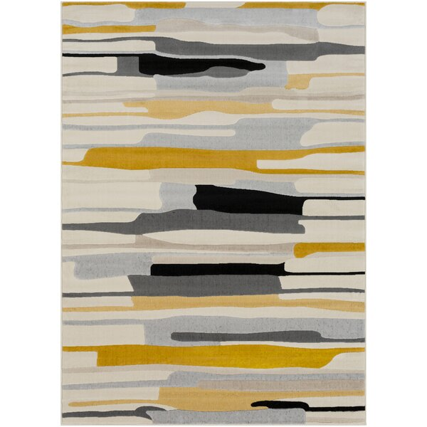 Bahr Abstract Mustard/Ivory Area Rug by George Oliver