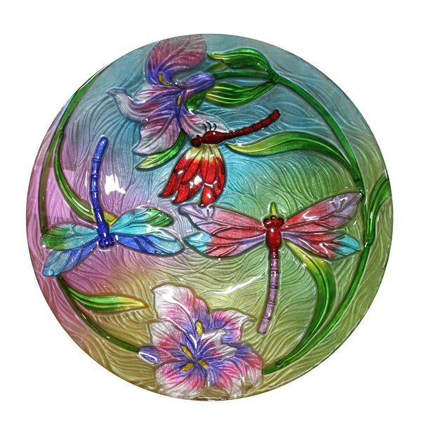 Flower Dragonflies Birdbath by Alpine