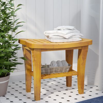 Beachcrest Home Rochon Deluxe Bamboo Storage Shower Seat & Reviews ...